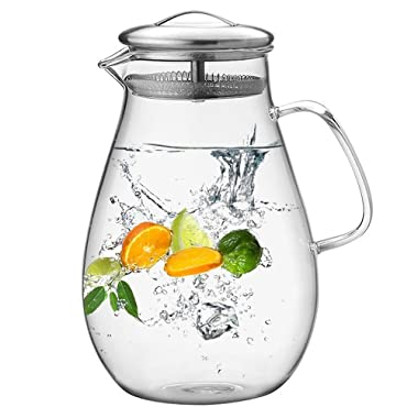 Hiware 64 Ounces Glass Pitcher with Stainless Steel Lid / Water Carafe with Handle - Good Beverage Pitcher for Homemade Juice & Iced Tea, Cleaning Brush Included