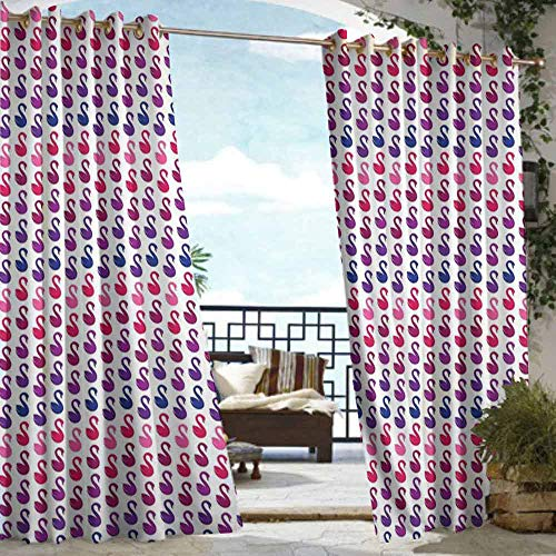 VIVIDX Outdoor Curtain Panel for Patio,Swan,Room Darkening Thermal,W84x96L Pink Blue Purple