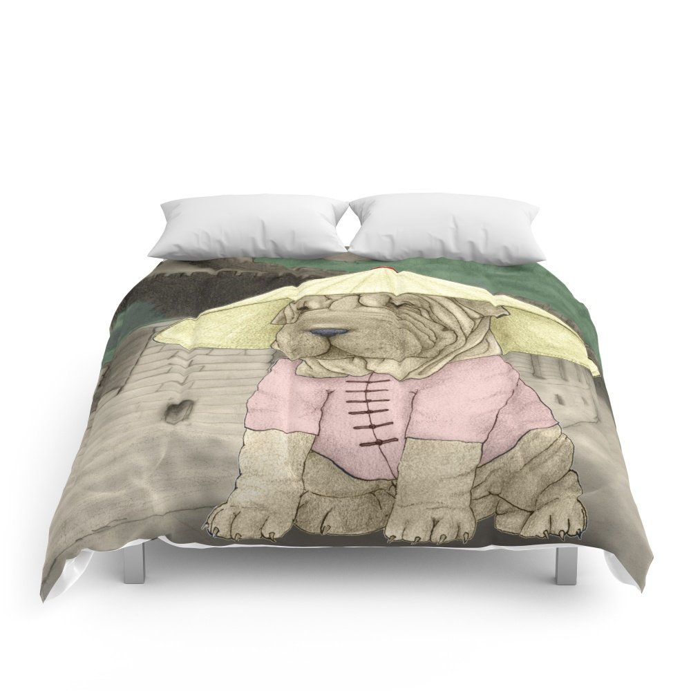 Society6 Shar Pei On The Great Wall (China) Comforters Full: 79'' x 79''