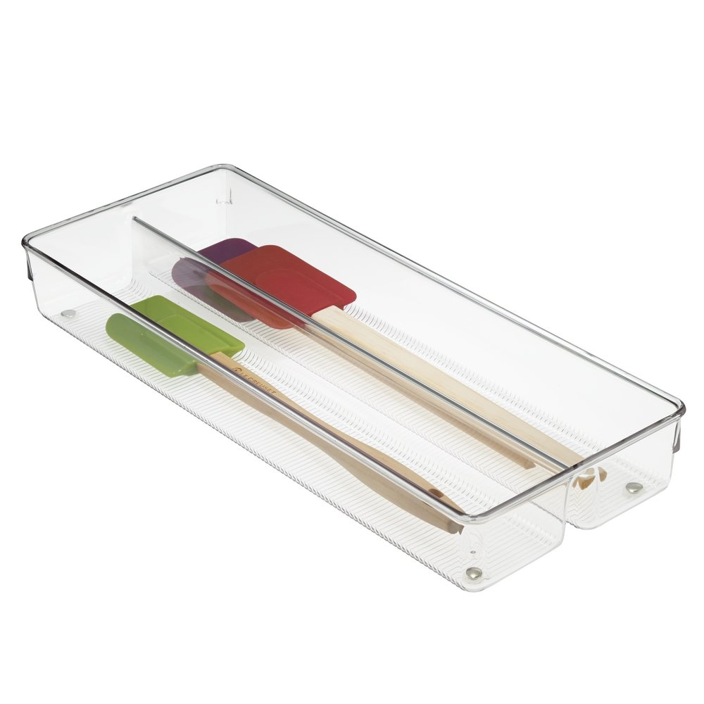 mDesign Plastic Kitchen Cabinet Drawer Storage Organizer- Divided Tray Bin with Non-Skid Feet - for Food, Cutlery, Serving Spoons, Cooking Utensils, Gadgets, BPA Free, 2'' Deep - Clear