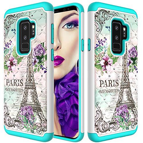 Galaxy S9 Plus Case, Babemall Luxury 2 in 1 Hybrid Glitter Diamond Bling Rhinestone Pattern Armor Back Case for Samsung S9 Plus - Paris Tower (Paris Samsung Note 2 Case)