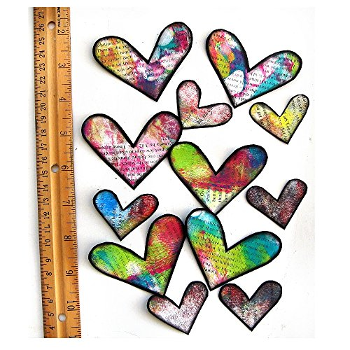 Hearts,Tie Dye Hearts, Painted Hearts, Mixed Media Hearts, Scrapbook Embellishments, Card Embellishments, Collage hearts, Colorful Hearts ()