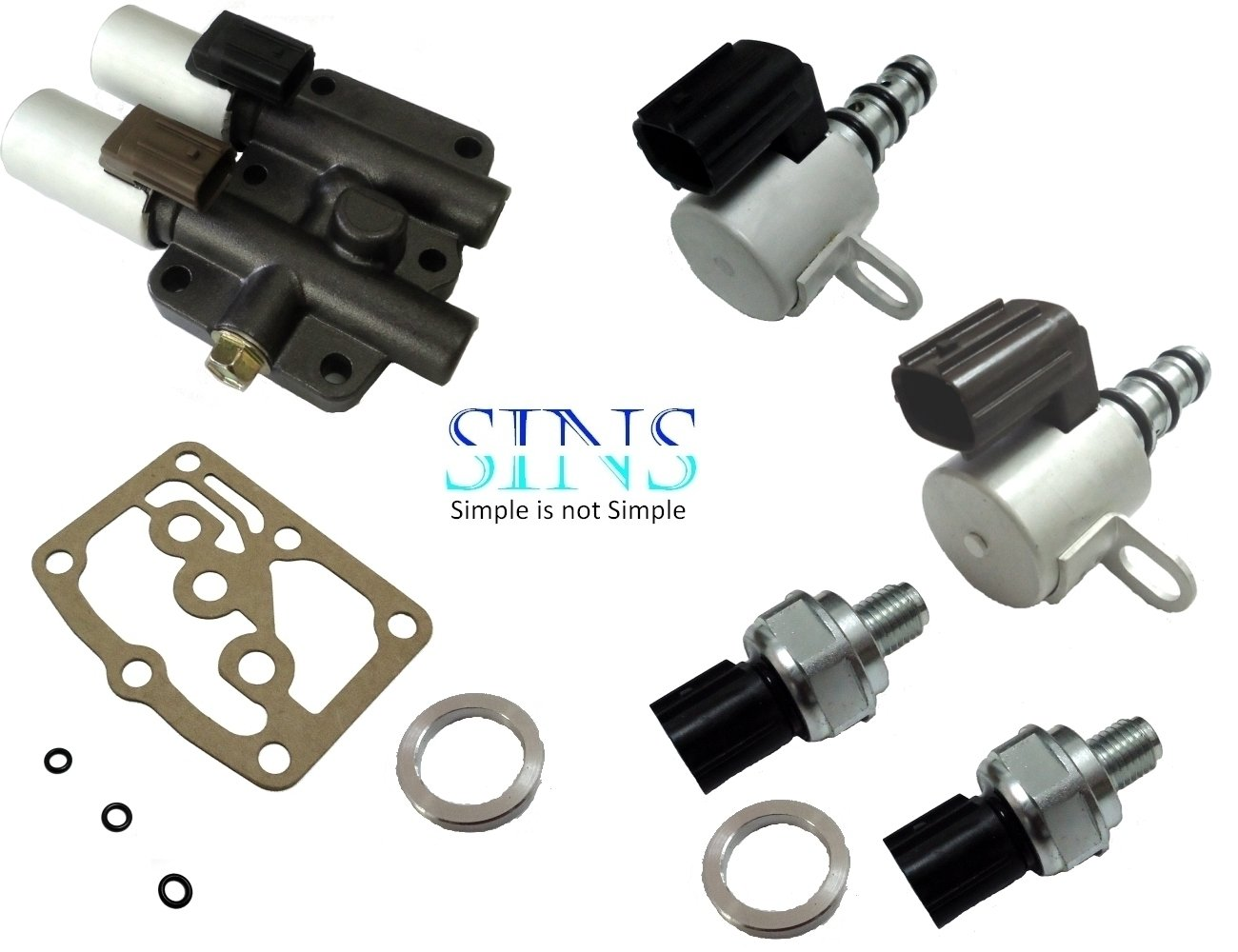 Honda Accord Odyssey Acura CL TL Transmission Solenoid Pressure Switch Kit 28250-P6H-024 28400-P6H-013 28500-P6H-013 28600-P7Z-013 SINS