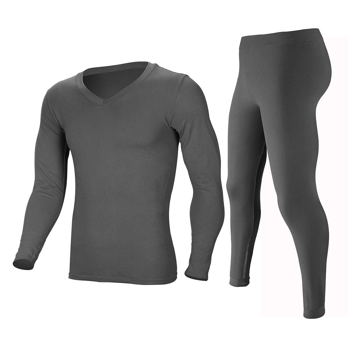 Men's Light Weight Thermal Underwear Ultra Soft Baselayer Long Johns Set Winter Warm Top & Bottom GL Grey by Innvix