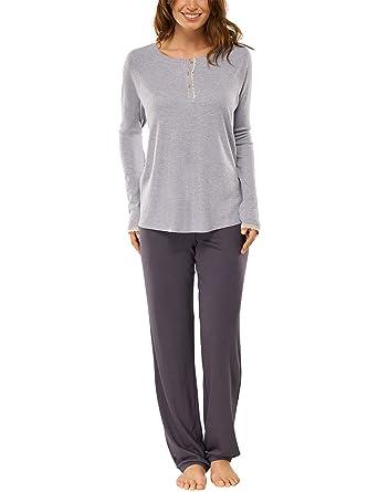 7e94016569 Schiesser Damen Zweiteiliger Schlafanzug Anzug Lang, (grau-Mel. 202), 44