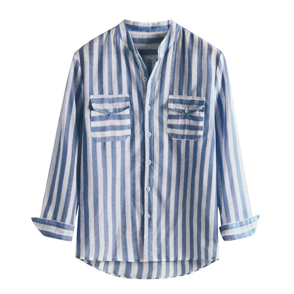 iZZZHH Mens Fashion Relaxed Collarless Striped Shirt Cotton Blend Long Sleeve Blouse Top
