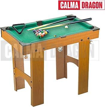 Calma Dragon Mini Mesa de Billar, Juego de Mesa con Bolas, Tacos, Tiza para Niños, Interior y Exterior: Amazon.es: Juguetes y juegos