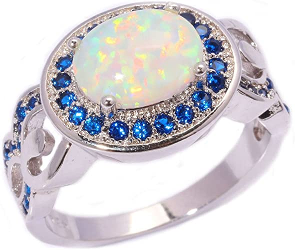F/&F Ring White Fire Opal Zircon Fashion Jewelry Ring For Women Engagement Wedding Bridal Rings
