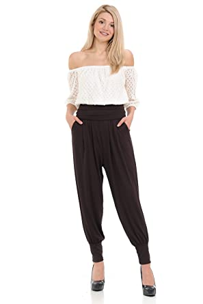 d59dbfe81da0 iconic luxe Women's Banded Waist Harem Jogger Pants with Pockets Small Brown