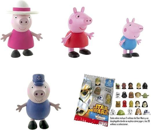 Lote 4 Figuras Comansi Peppa Pig. Peppa - George - Abuelo Pig - Abuela Pig + Regalo: Amazon.es: Juguetes y juegos