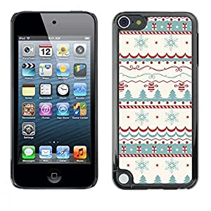 King Case - FOR Apple iPod Touch 5 - Merry Christmas Tree Green Red Deer Snow - Caja protectora de pl??stico duro Dise?¡Àado