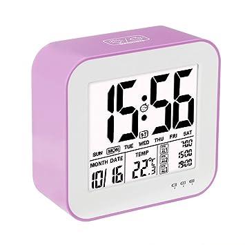 VADIV Despertador Reloj Digital Gran Pantalla LCD 3 alarmas Retro-Iluminación Inteligente con Fecha Indicador de Temperatura Calendario y Luz de Noche Se ...