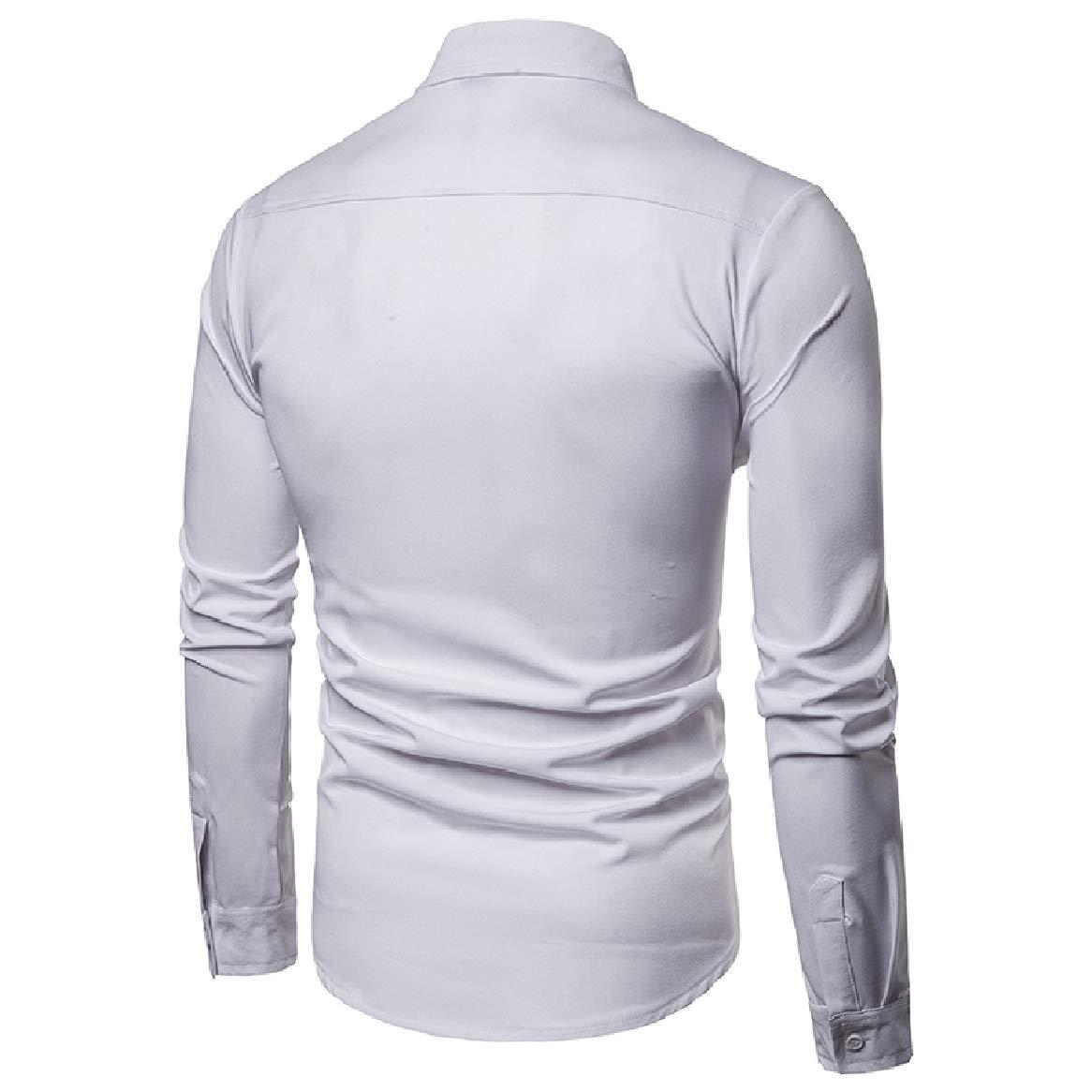 SportsX Mens Lapel Collar Standard-fit Pure Color Bussiness Long-Sleeve Work Shirt