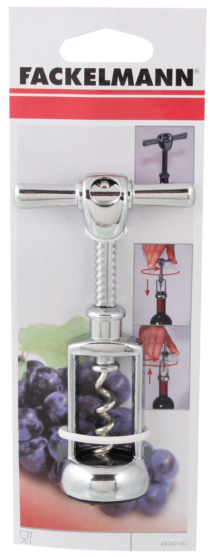 Wein/öffner f/ür alle Korken Menge: 1 St/ück Farbe: Silber Hebelkorkenzieher aus verchromtem Zink//Stahl Fackelmann Glockenkorkenzieher