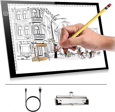 A4 Led Ligero Caja Dibujo Caja de luz artista Ligero Trazador Mesa Almohadilla de seguimiento para Tabla del diseño del tatuaje, tablero de dibujo,Tablero del bosquejo Pantalla de la plantilla: Amazon.es: Hogar