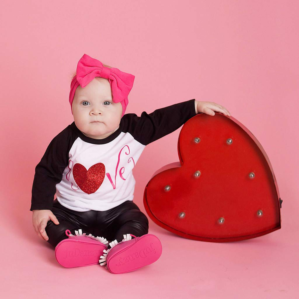 Moonker Valentines Baby Infant Girls Boys Clothes Outfits 3-24 Months Long Sleeve Letter Print Top Chaparajos Pants Set