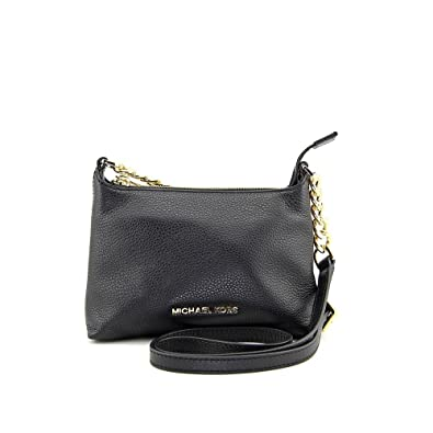 fashion style incredible prices attractive colour Michael Kors Bedford Black Gold Crossbody Leather Hand Bag 32S4GBFC1L NEW