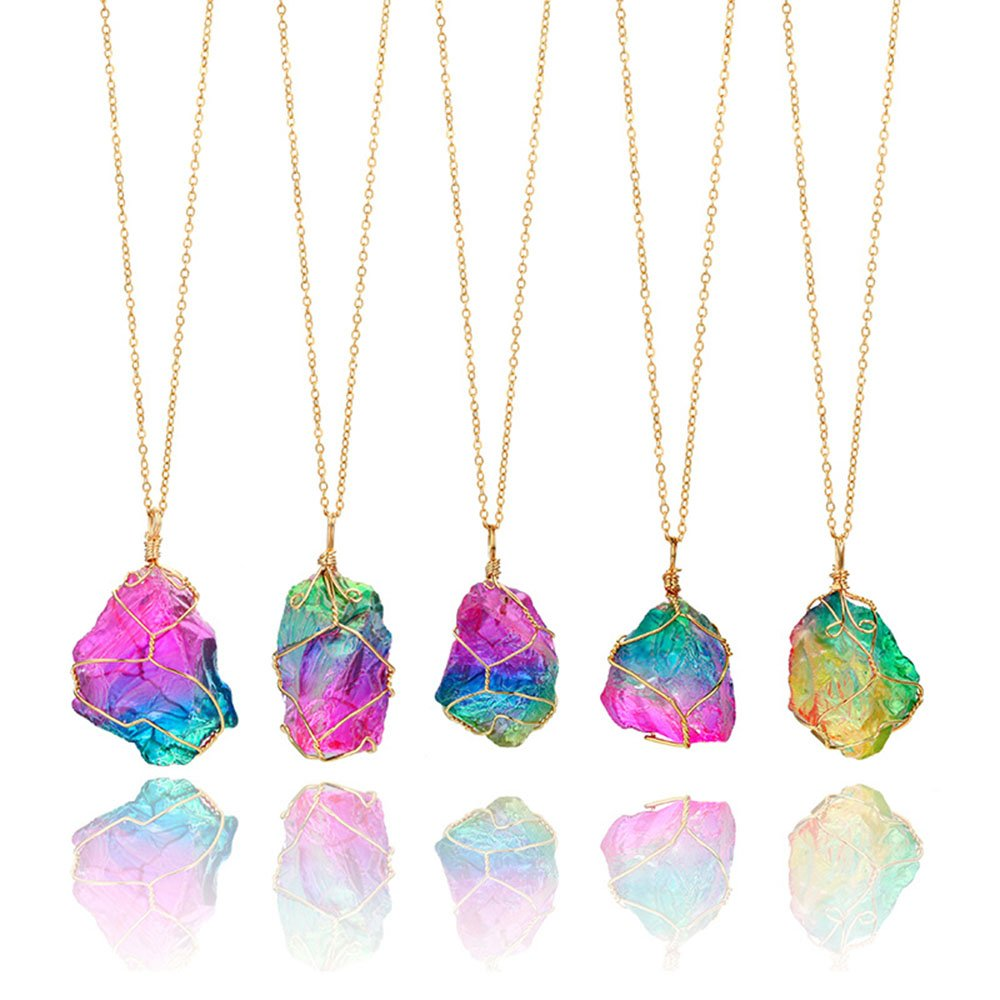 Rainbow IrregularStone Pendant Crystal Gemstone Necklace Birthstone Jewelry Gifts for Girls MINGHUA