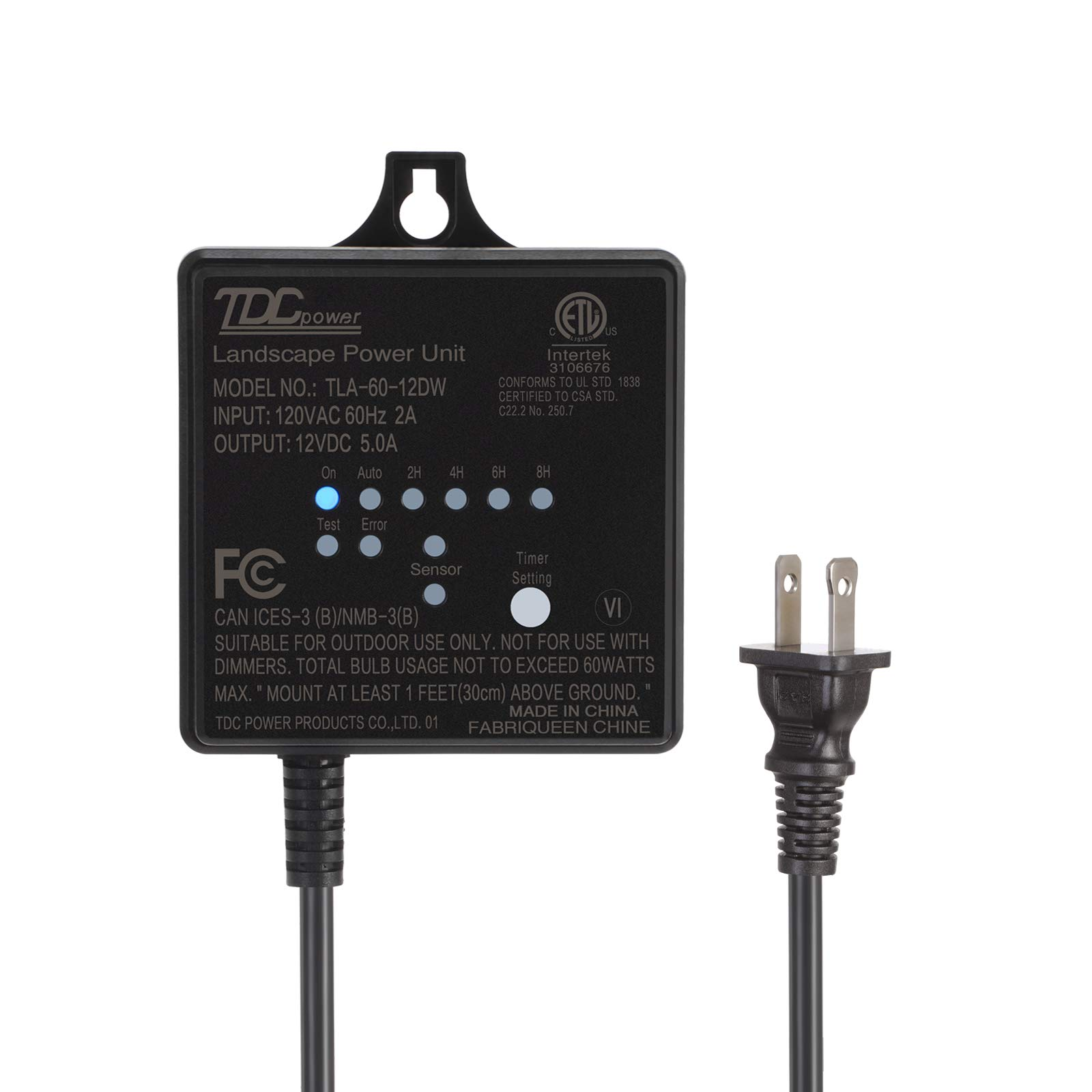 DEWENWILS 60W Outdoor Low Voltage Transformer with Timer and Photocell Light Sensor, 120V AC to 12V DC, Weatherproof, Specially for LED Landscape Lighting, Spotlight, Pathway Light, ETL Listed by DEWENWILS