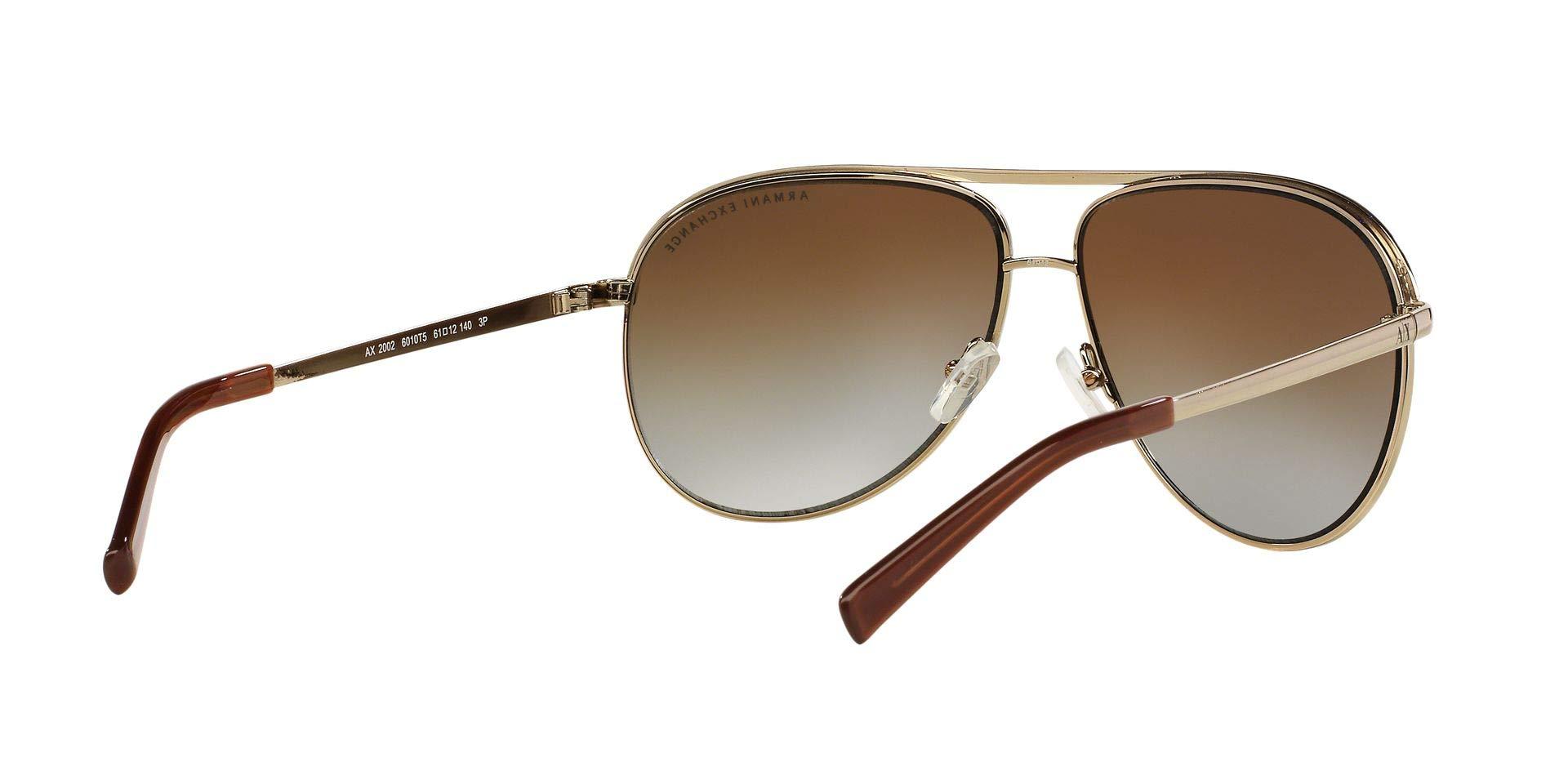 Armani Exchange Metal Unisex Polarized Aviator Sunglasses, Light Gold/Dark Brown, 61 mm by A|X Armani Exchange (Image #9)