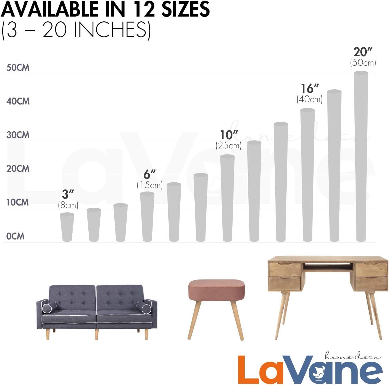 lit La Vane Lot de 4 pieds de meubles en bois massif avec plaque de montage et vis pour canap/é TV table /à manger