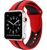 EloBeth Compatible Apple Watch Band 42mm, Soft Silicone Sport Replacement Wrist Strap Stripe Color Splicing for Apple Watch Series 3/2/1 Nike+ Sport Edition Smart IWatch (Stripe-Red/Black, 42mm)