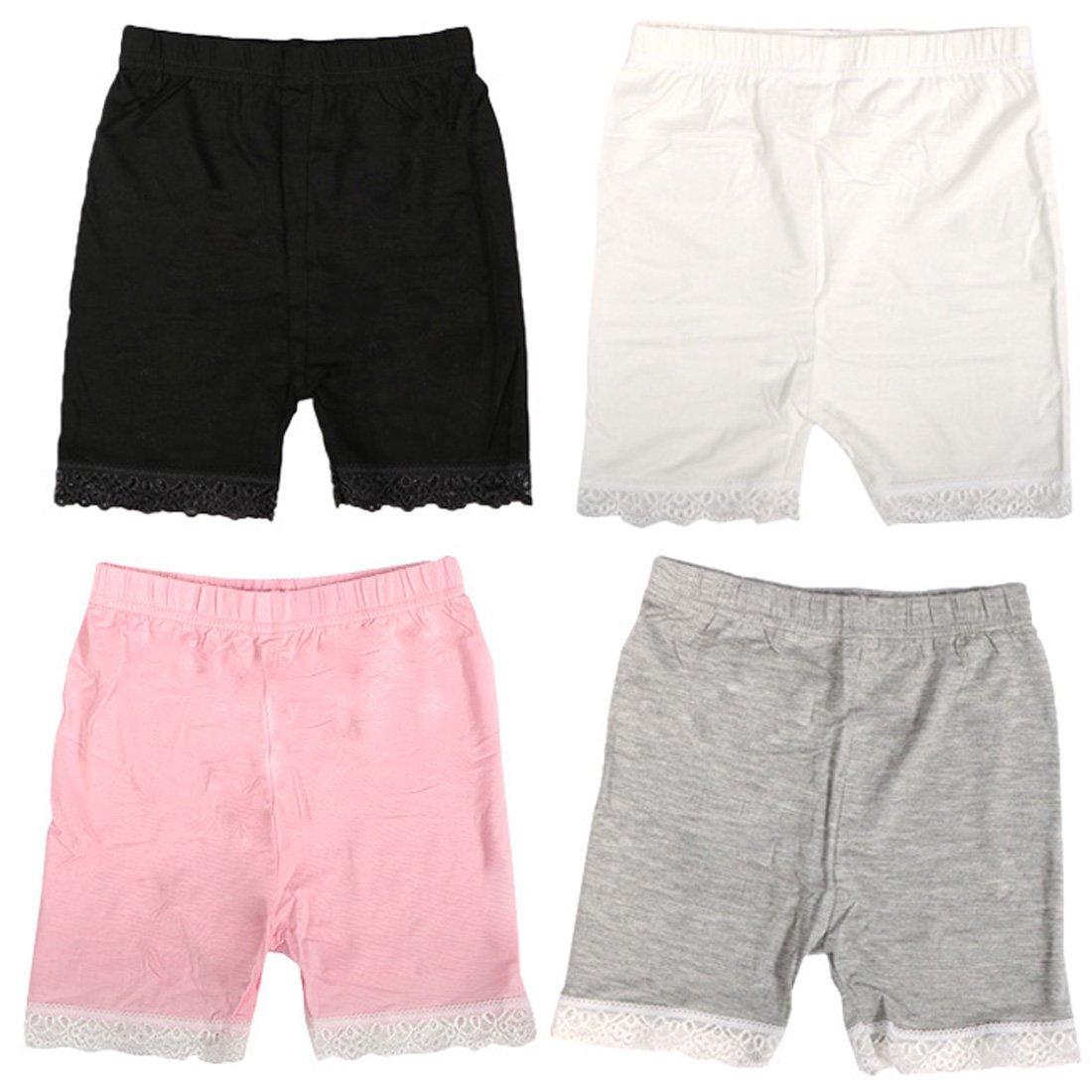 MyKazoe Girls Bike Shorts With Lace Trim (4T/5T, Basics (Black, White, Grey, Pink))