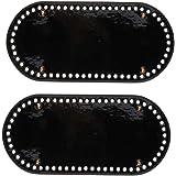 Perfeclan バッグアクセサリー ボトムパッド PUレザー 60穴 4つの釘 防磨耗 耐久性 25x12x0.4cm - ブラック +ゴールドネイル