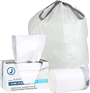 Plasticplace Trash Bags │simplehuman (x) Code J Compatible (50 Count)│White Drawstring Garbage Liners 10-10.5 Gallon / 38-40 Liter │ 21