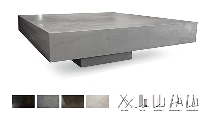 Table basse béton ciré sur socle: Amazon.fr: Handmade