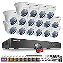 ANNKE 16-Channel Surveillance System 1080P HD-TVI DVR with 3TB Security Hard Disk Drive and (16) 2.0Mega-Pixels 1920x1080p Weatherproof Cameras, Smart Search and Playback