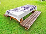 Lunarable Old Newspaper Outdoor Tablecloth, Victorian Flower Romantic Antique Flourish Ornament Old Retro Calligraphy, Decorative Washable Picnic Table Cloth, 58 X 84 inches, Purple White