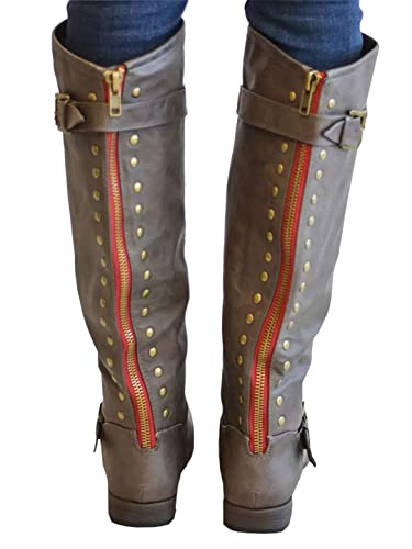 10ab26fa00c Syktkmx Womens Winter Studded Knee High Chunky Boots Flat Low Heel Ankle  Strap Zip Up Motocycle Boots