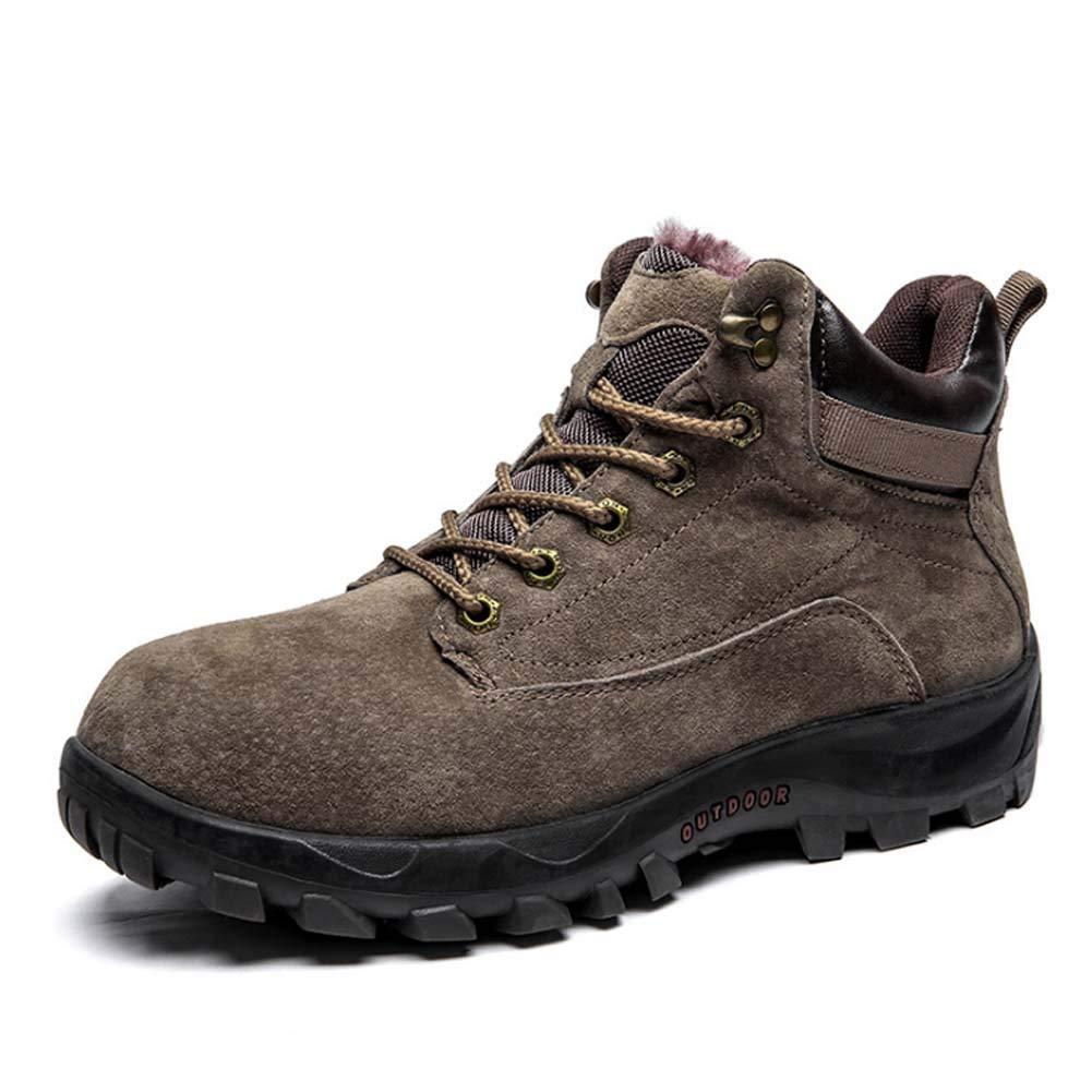 HYLFF Männer Schuhe Winter warme Schneeschuhe Leder Outdoor-Trekking Schuhe Spitzen WasserDicht Rutschfeste Antiskid