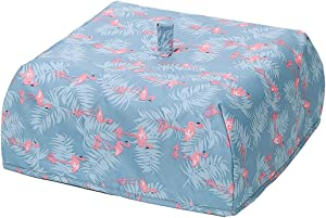 Oyachic Insulated Food Cover Hot Collapsible Food Tent Thermal Pop Up Umbrella Cover Waterproof Aluminum Foil Reusable Protect Food From Bugs,Dust and Mosquitoes (flamingo)