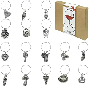 Wine Glass Charms Markers,Wine Tasting Party Decoration Supplies Gift,Food Themed Set of 16