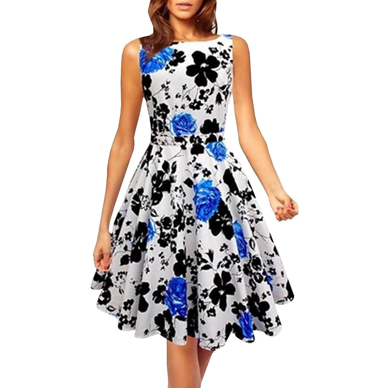Partiss Damen Frauen klassischer Jahrgang 1950 Blumendruck Rockabilly Swin Party Kleid Abendkleid
