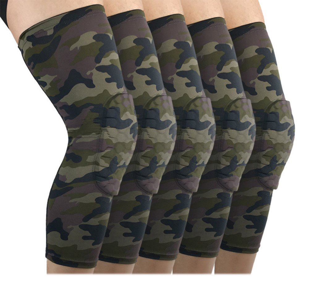 b8eb7d9ea5 Amazon.com: 1 Pair Camouflage Honeycomb Knee Pads Compression Knee Brace  Anti-shock for Soccer, Basketball, Skiing, Hockey, Running, Training, ...
