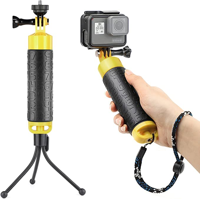 Basics Floating Waterproof GoPro Mount Hand Grip Handle Yellow 2.5 x 1.5 x 6 Inches