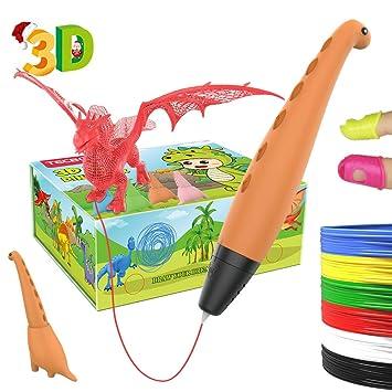 TECBOSS Lápiz 3D, Pluma 3D Dinosaurio,3D Pen, Juguete con Modo de Ssueño Seguro de 2 Velocidades, Niños y Niñas de 6/7/8/9/10 Años de ...