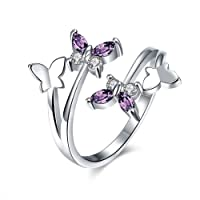 Qinlee Women Ring Butterfly Crystal Ring Diamond Bend Size Adjustable Open Rings Wedding Jewelry For Lady Girls Birthday Gift
