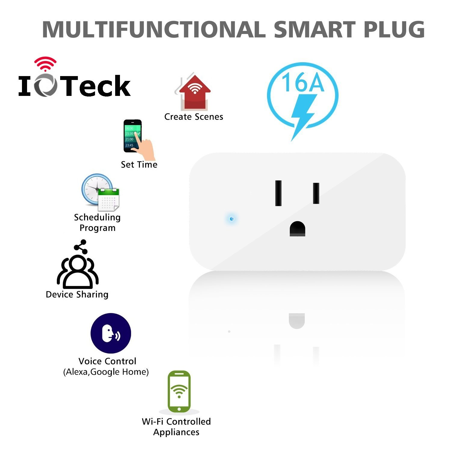 IoTeck Smart Wi-Fi Plug Compatible With Alexa, Echo, Google Home, IFTTT, and Smart Life, Mini Smart Socket with Timer Function, No Hub Required, 15A, 2 Pack by IoTeck (Image #7)