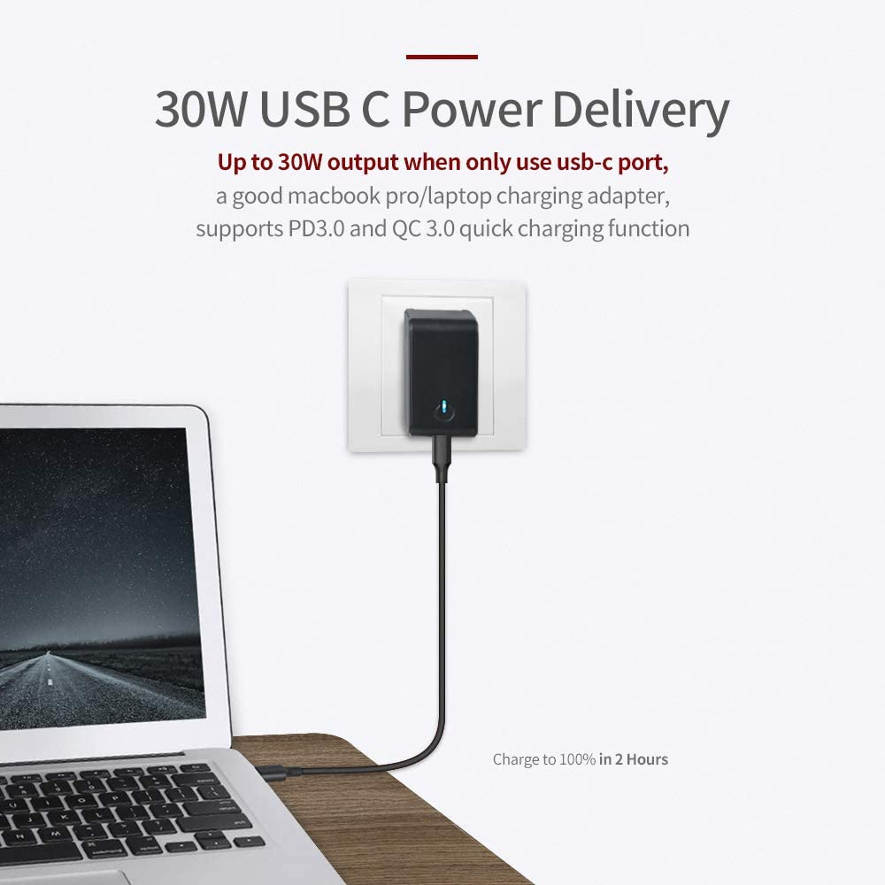 USB Wall Charger,ALLWAY 30W Type C PD 3.0 Power Delivery Adapter with Foldable Plug Dual Port Ultra Compact USB C Travel Charger Compatible with iPhone 11//Pro//Max,MacBook Pro//Air,Ipad Pro 2018 More