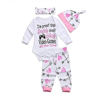 6260101e5 Amazon.com  4PCS Set Baby Girls Clothes Set Newborn Infant Toddler ...