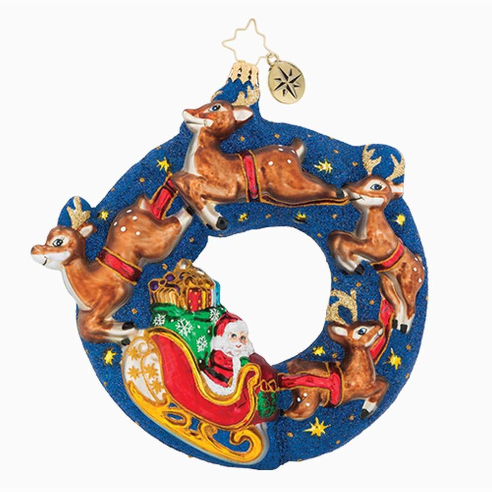 Christopher Radko 6.5'' Santa's Midnight Ride Glittered Christmas Tree Ornament #1018955