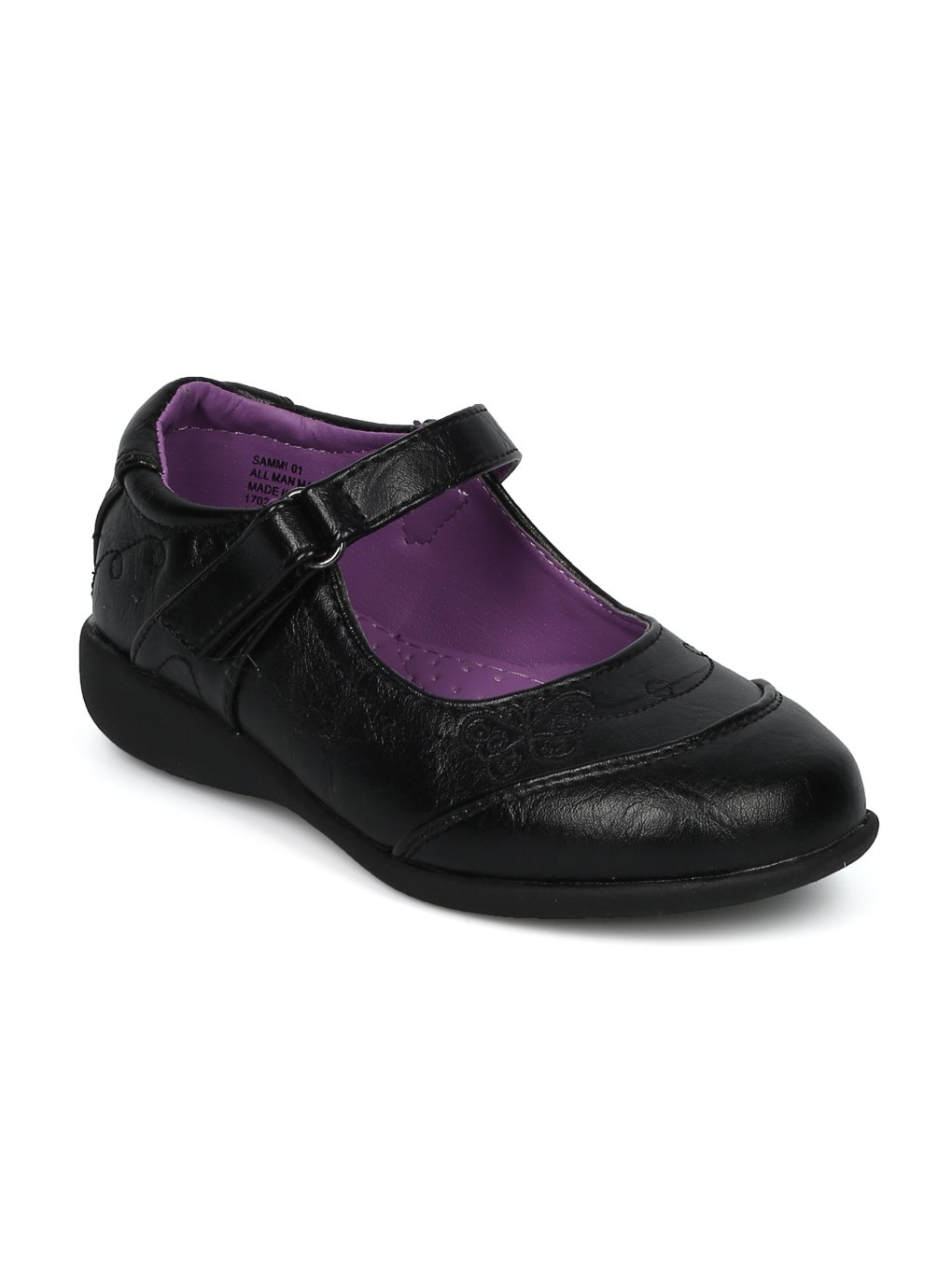 Alrisco Schola Sammi-01 Leatherette Butterfly Mary Jane Strap School Uniform Shoes HC58 - Black Leatherette (Size: Little Kid 13)