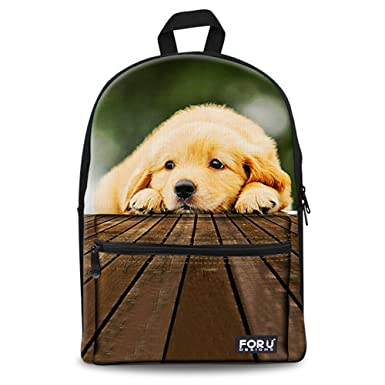 Amazoncom Canvas School Bag For Teens Girls Boys Dog Backpack