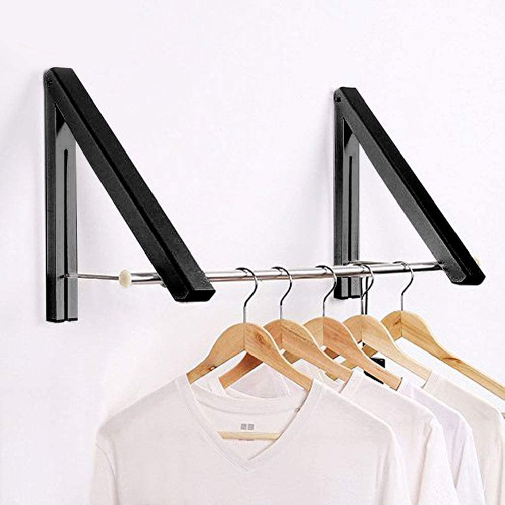 LANRCYO Folding Wall Mounted Clothes Drying Rack Black Aluminum Folding Clothes Hanger Holder Laundry Bathroom,Bedroom Balcony and Home Storage Organizer (2 Pack)