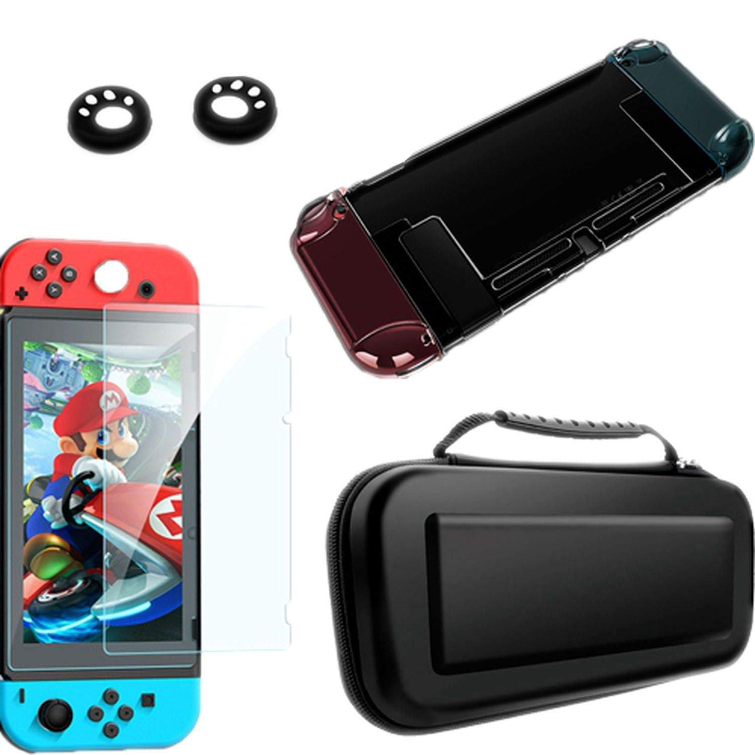 Detachable Crystal PC Transparent Case for Nintendo Nintendo Switch NS NX Cases Hard Clear Back Cover Shell Ultra Thin Bag,Kit 2