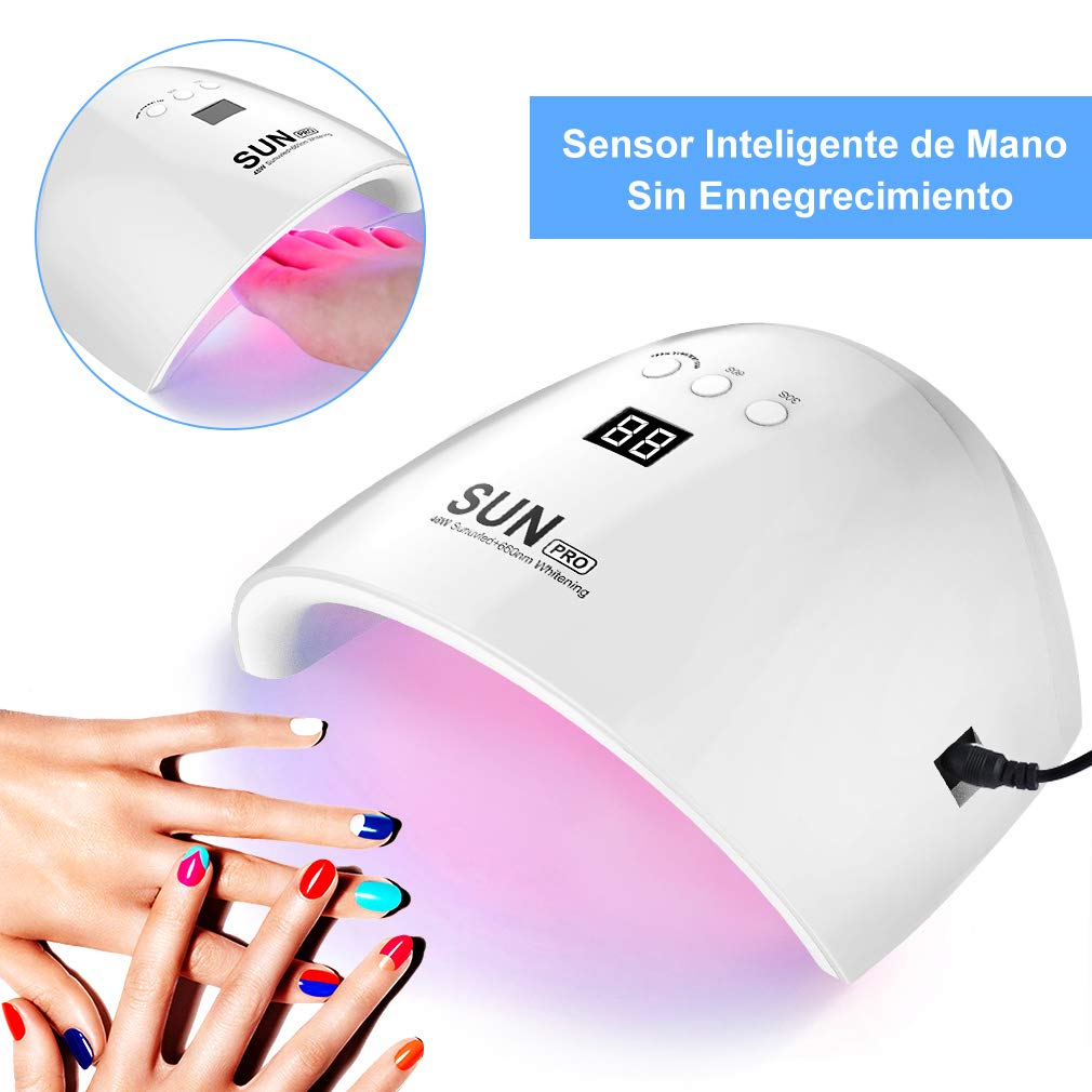 Lámpara LED Uñas Secador de Uñas 48W Lámpara UV LED Profesional Maquillaje Uñas para Gel con